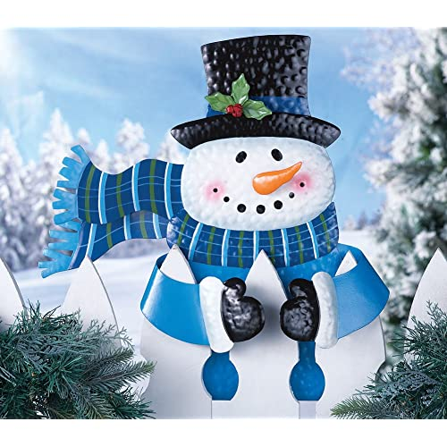 Cute Whimsical Snowman Hugger Fence Topper Holiday Winter Decoration