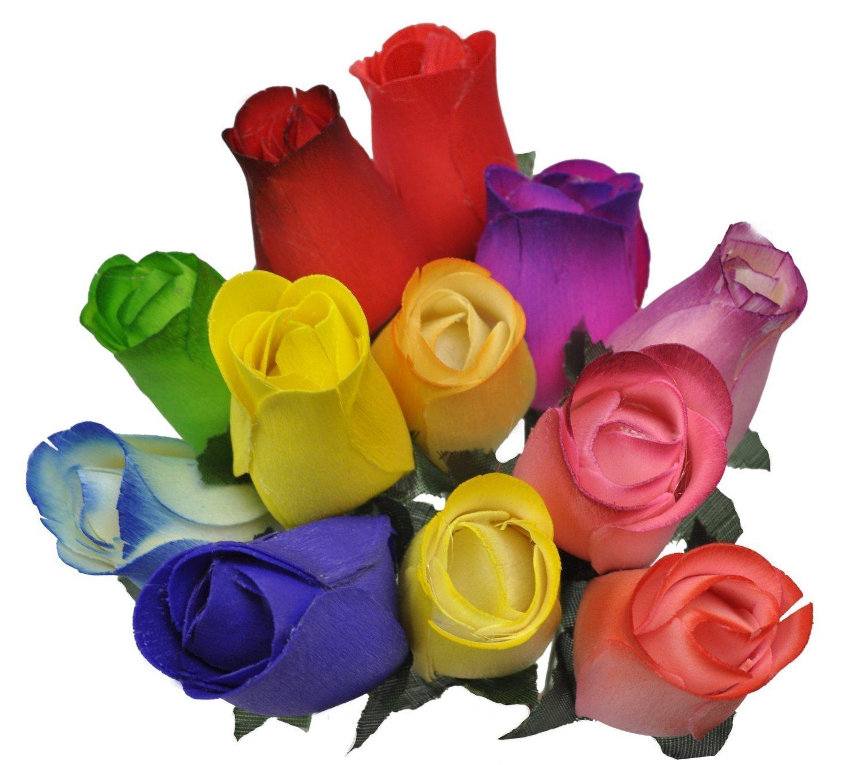 2 Dozen (24) Wooden Roses Colorful Arrangement in Sleeve – Artificial Mixed Flower Arrangements