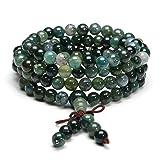 Jovivi 6mm Natural Moss Agate Stone Healing Gemstone 108 Mala Prayer Beads Stretch Bracelet Necklace (Color: 6mm Beads)