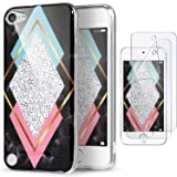 iPod Touch 7th Generation Case with 2 Screen Protectors, IDWELL iPod Touch 6 Case, iPod 5 Case, Slim FIT Anti-Scratch Flexible Soft TPU Bumper Hybrid Shockproof Protective Cover, Rhombus Black Marble (Color: Rhombus Black Marble)