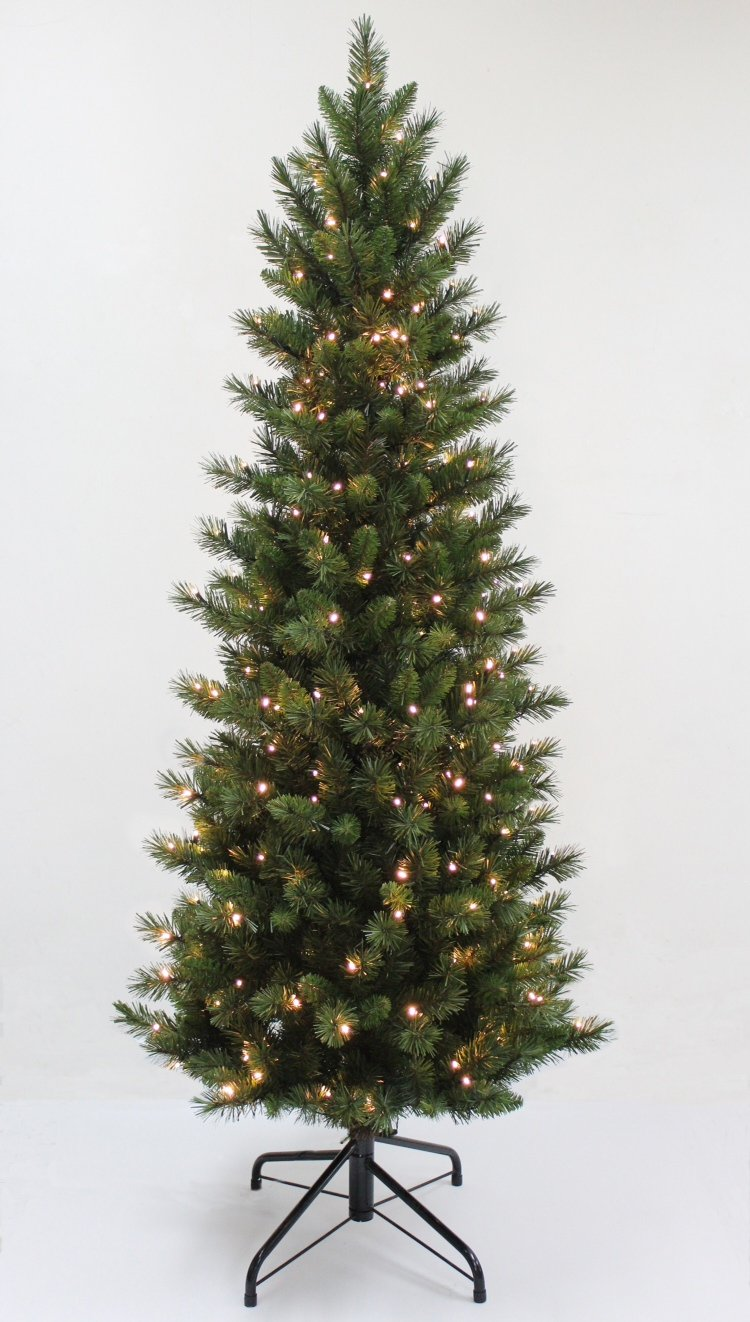 FunkyBuys® Pre Lit 6FT,180CM Slim Green Christmas Tree 600 Tips Pine 240 Warm White LEDs Stand       Customer reviews and more information