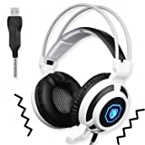 SADES SA905 Wired USB PC Gaming Headset Over-Ear headband Headphones with Microphone Vibration LED Lights(Black&White)