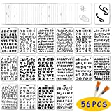 Jekkis 56 Pack Letter and Number Stencils Alphabet Templates Drawing Painting on Wood Reusable Plastic Art Craft Stencils for Journal Stencil DIY Craft Project (Color: White)