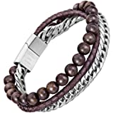 murtoo Mens Bead Leather Bracelet, Blue and Brown Bead and Leather Bracelet for Men (Brown-Coffee) (Color: brown-coffee)