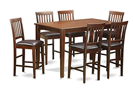 East West Furniture DUVN7H-MAH-LC 7-Piece Counter Height Table Set, Mahogany Finish