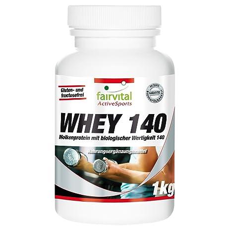 Whey 140 (1kg), Molkenprotein mit biologischer Wertigkeit 140, zur nutritiven Versorgung mit essentiellen und verzweigtkettigen Aminosäuren, Weight Gainer
