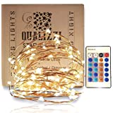 QUALIZZI Starry Lights with Remote Control/Dimmable (33 Feet /100 LEDs). Very Pretty Bright Fairy Light Lights on LED Copper Wire Indoor String Lights. Enjoy Magic Decorative Garlands All Year Around (Color: white, Tamaño: 33 Feet)