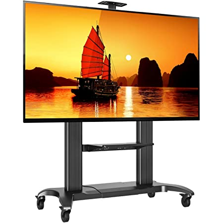 "North Bayou Deluxe Portable Trolley Floor Stand for 60"" 65"" 70"" 75"" 100"" Inch LED and LCD TV Screens - Silver"