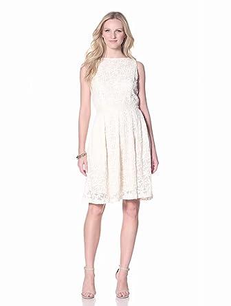 Isaac Mizrahi Women's Sleeveless Lace Dress with Beaded Trim, Ivory, 4