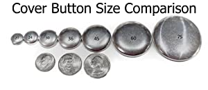 100 ButtonsUCover Cover Buttons FLAT Back Size 30 and Assembly Tool Kit (Color: metallic silver, Tamaño: Size 30 Flat Back)