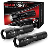 GearLight LED Tactical Flashlight S1000 [2 PACK] - High Lumen, Zoomable, 5 Modes, Water Resistant, Handheld Light - Best Camping, Outdoor, Emergency, Everyday Flashlights (Color: Tactical Black, Tamaño: Pocket-Sized, Compact, Portable)