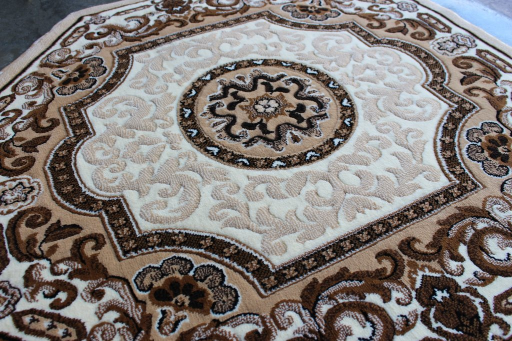 Traditional Octagon Area Rug Design Kingdom D 123 Ivory (4 Feet X 4 Feet) Octagon