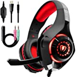 Beexcellent Gaming Headset for PS4 Xbox One, 2019 New Pro Gaming Headphone with Anti-Noise Mic, Surround Sound, Memory Foam Earmuff, Led Light for PC Mac Laptop-Red (Color: Red, Tamaño: Normal size)