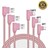 USB Type C Cable, CTREEY 90 Degree 3 Pack 3ft 6ft 10ft Nylon Braided Long Cord USB Type A to C Charger for Macbook, LG G6 V20 G5,Google Pixel, Nexus 6P, Nintendo Switch, Samsung Galaxy S8+ (Rose Gold) (Color: Rose Gold)
