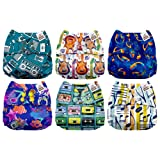 Mama Koala One Size Baby Washable Reusable Pocket Cloth Diapers, 6 Pack with 6 One Size Microfiber Inserts (Do Re Mi) (Color: Do Re Mi, Tamaño: One Size)