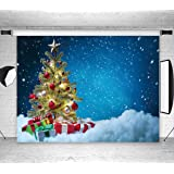 LB Christmas Backdrops for Photography 7x5ft Muslin Blue Snow Sky Background Christmas Tree Photo Backdrops Customized Photo Background Studio Props,Washable Seamless (Color: Blue R73, Tamaño: 7'x 5')