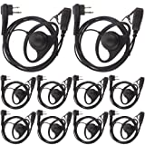 Tenq D Shape Earpiece Headset PTT for Motorola Two Way Radio Walkie Talkie 2pin(Pack of 10) (Color: Pack of 10)