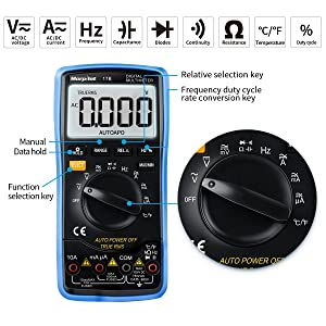Digital Multimeter, Morpilot Auto-Ranging 6000 Counts DC/AC Voltage & Current, Resistance, Frequency, Continuity, Capacitance, Diode, Temperature, 3.0 Inch Backlight Large LCD Display (Color: Multimeter)