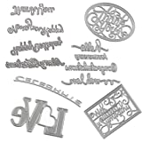 Dies Cut Embossing Cutting Die Embossing Words Hello Love Happy Thank You Congratulations for DIY Scrapbooking Photo Album Decorative Metal Stencils DIY Paper Cards Making (Set 10) (Color: Set 10)
