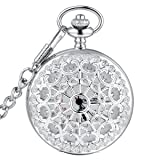 LYMFHCH Classic Smooth Vintage Gold Quartz Pocket Watch, Roman Numerals Scale Mens Womens Watch with Chain (Silver)