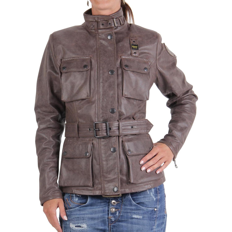 BLAUER USA Damen Winter Lederjacke Brown 0748