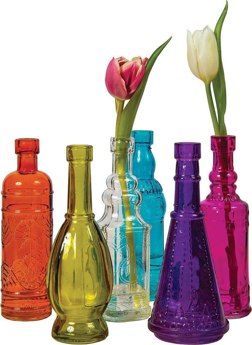 Luna Bazaar Small Vintage Glass Bottle Set 7 Inch Multicolor Glass Set Of 6 Flower Bud