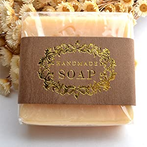 CHAWOORIM Soap Wrapping Paper Tape Labels Soap Packaging Materials for Hand Made Soap Lotion Bars Soap Bars Bath Bombs Boxes Bags 20sheets Gold Peel Hand Made Soap Homemade soap Packaging (Color: Gold Peel Hand Made Soap Labels,homemade Soap Labels, Tamaño: Medium)