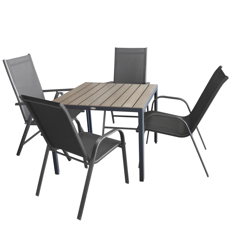5tlg. Gartengarnitur, Aluminium Gartentisch mit Polywood-Tischplatte Grau 90x90cm + 2x Aluminium-Hochlehner, 7-fach verstellbar, anthrazit + 2x Stapelstuhl, Textilenbespannung / Sitzgruppe Sitzgarnitur Gartenmöbel Terrassenmöbel bestellen