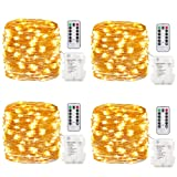 GDEALER 4 Pack Fairy Lights Fairy String Lights Battery Operated Waterproof 8 Modes 50 LED 16.4ft String Lights Copper Wire Firefly Lights Remote Control Christmas Decor Christmas Lights Warm White (Color: warm white)