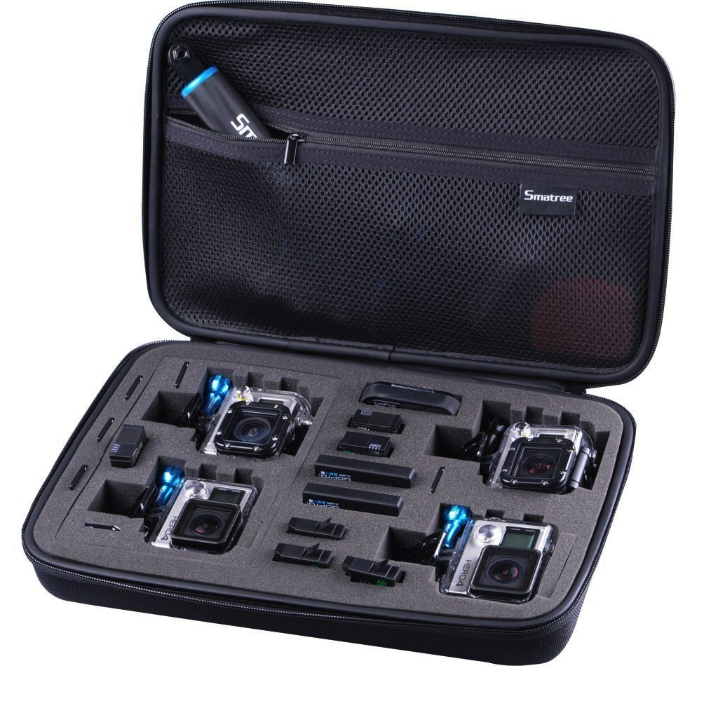 Smatree® Large Size SmaCase G360 EVA Carrying and Travel Case (13.4  X 9.4  X 3 ) with Foam for Gopro® HD Hero4, 3+, 3, 2, 1 Camera camcorder   Full Black (Fits 2 4 Cameras)review and more information