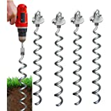 Earth Tite Powerful Spiral 18 inch Ground Anchor-Set of 4-10 Sec Install Using Drill. Outdoor Galvanized Anchors - Last 20 yrs In Ground Trampoline Anchors for Securing Sheds, Carports Swingset (Color: silver)