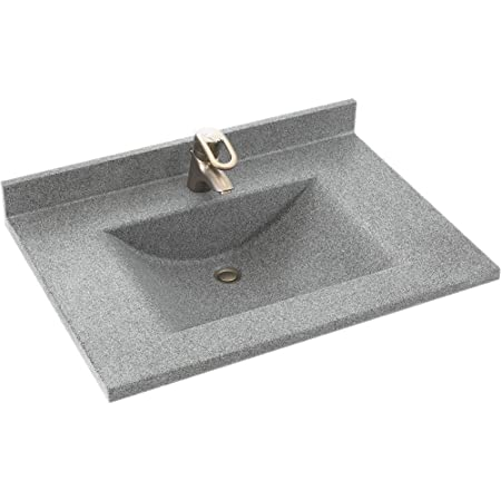 Swanstone CV2237-042 Contour 37-Inch Solid Surface Vanity Top with Gray Granite Basin