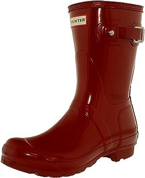 Hunter Womens Original Short Gloss Military Red Rain Boot - 9