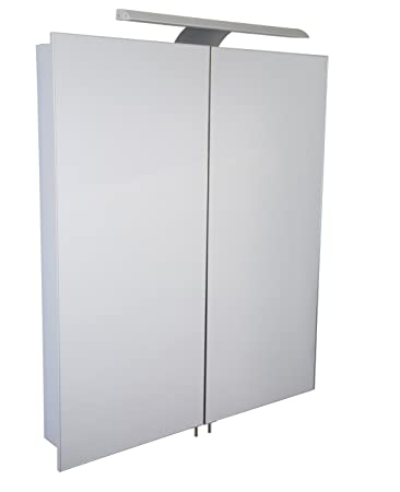 Croydex Sudbury Double Door Illuminated Cabinet with Hang N Lock Fitting System, Metal, Silver