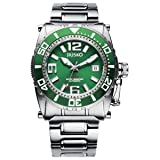 JIUSKO Men's Deep Sea 69LSGR16 24 Jeweled Automatic Titanium Green Watch