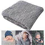 Newborn Photography Props Newborn Baby Stretch Long Ripple Wrap Yarn Cloth Blanket by Bassion, Grey, 16