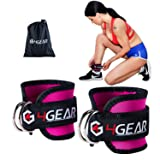 Ankle Straps for Cable Machines - Double D-Ring, Strong Velcro, Adjustable for Men and Women - Premium Ankle Cuffs for Abs, Leg & Glute Workouts - Carrying Bag Included