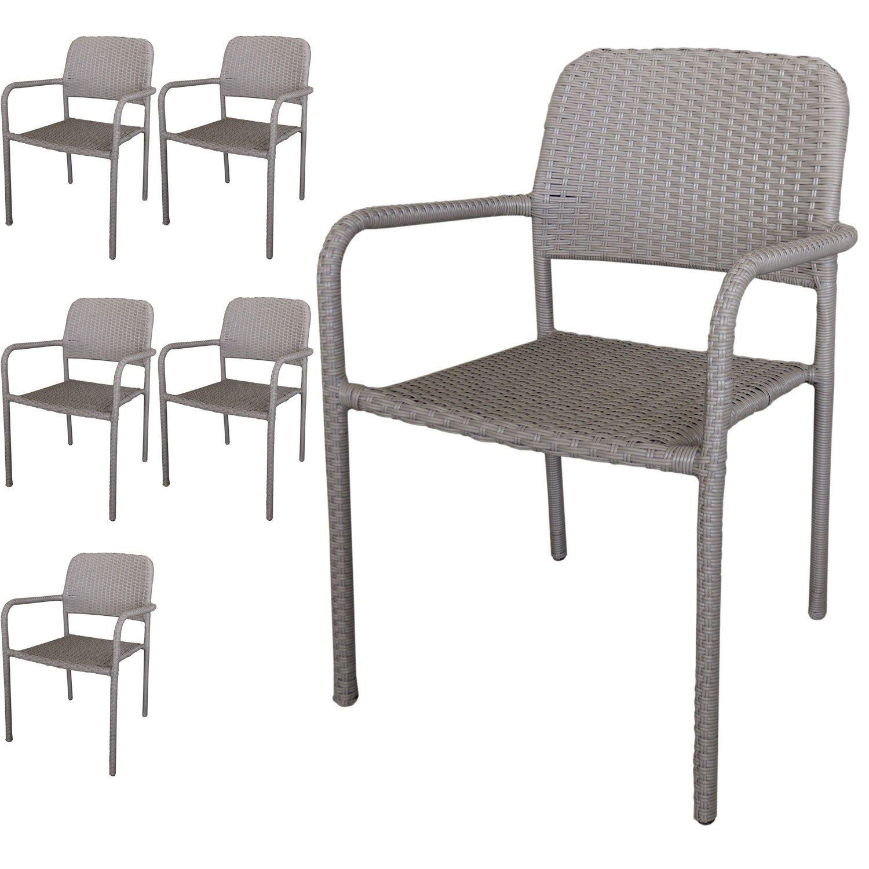 6 Stück Stapelstuhl Rattanstuhl - Gartenstuhl Set stapelbar mit Polyrattanbespannung in Taupe - Gartensessel Gartensitzmöbel