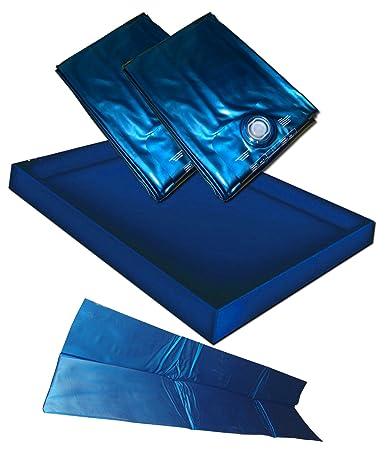 Hardside Wasserbetten Wasserkern Wasserbettmatratze Wasserbett Matratze DUAL DUO + Sicherheitswanne Auslaufwanne Wanne Standup Liner + Thermo Trennwand Thermotrennwand 180 x 200 cm (200 x 220 cm F4 + F4)