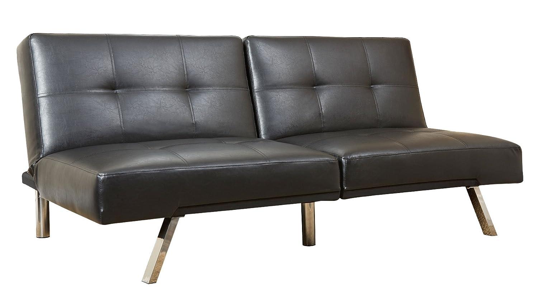 Abbyson Living Aspen Bonded Leather Convertible Sofa - Black