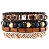 HZMAN Mix 4 Wrap Bracelets Men Women, Hemp Cords Wood Beads Ethnic Tribal Bracelets, Leather Wristbands (SZ808020)
