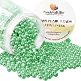 PandaHall Elite About 1000 Pcs 4mm Tiny Satin Luster Glass Pearl Bead Round Loose Spacer Beads for Jewelry Making Green (Color: Bud Green-1000 Pcs, Tamaño: 4~4.5mm)