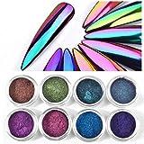 8box Neon Aurora Mirror Glitter Powder Unicorn Chameleon Nail Chrome Pigment Glitter Laser Rainbow Neon Dust Glitter 8 Colors 0.2g