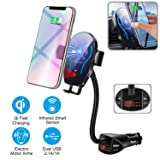Flow.month Car Cigarette Lighter Wireless Charger- Phone Holder Mount,Automatic Infrared Smart Sensing 10W Qi Fast Wireless Charging Cradle for Cell Phone,Dual USB, 3.1A Max (Color: Grey, Tamaño: Car CigaretteLighter Wireless Charger)