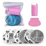 Biutee Salon Designs Nail Art Stamping Kit Bundle with 10 Manicure Plate Set, Polish Stamper and Scraper (10Pcs)