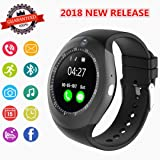 Smartwatch, Bluetooth Smart Watch Phone with Camera Pedometer SIM Card Slot for Android Sony Huawei LG and iOS (Partial Functions) Men Women Kids (Black) (Color: Black1, Tamaño: L)