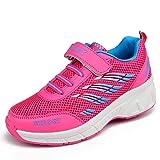 Vilocy Unisex Kids Roller Skates Shoes Girl Boy Trainer Sneakers Wheels Shoes Blue/Pink (EUR32=US13, Pink)