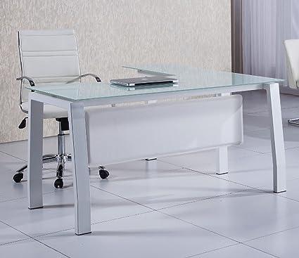 Mesa escritorio en L de 150cm con cristal blanco para oficina o despacho.