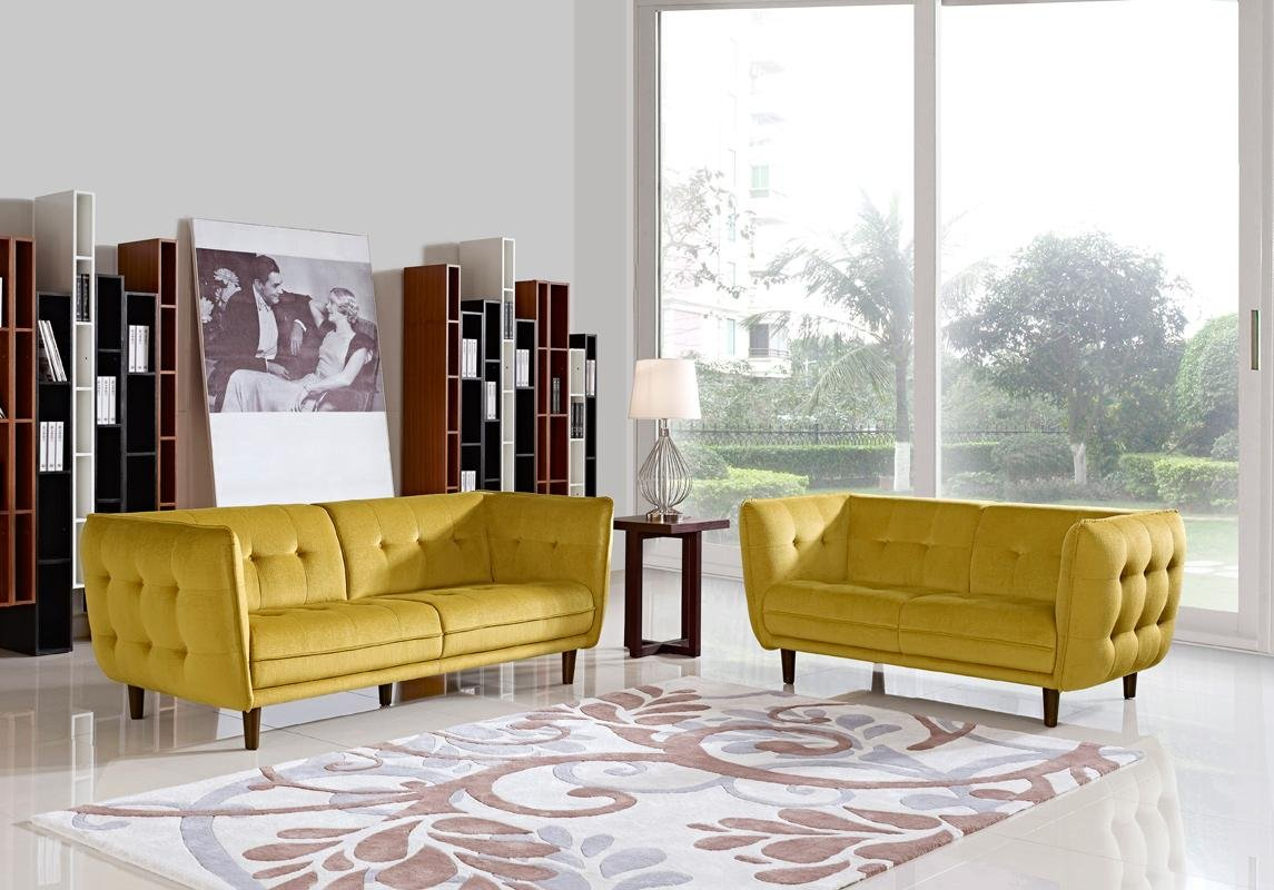 Divani Casa Avro Modern Yellow Fabric Sofa Set