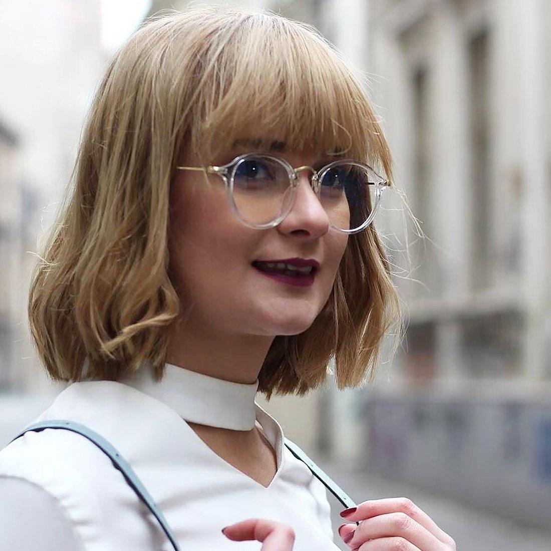 TIJN Vintage Round Prescription Eyewear Eyeglasses Frame with Clear Lenses for Women 2